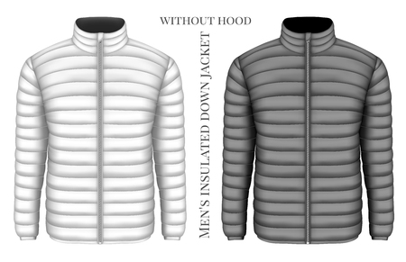 Mens insulated down jacket. Vector illustration.