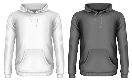 Mens hoodie. Front view of hooded sweatshirt. Vector illustration Illustration