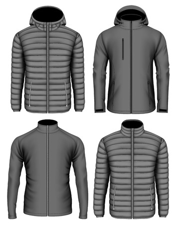 Collection of mens zip-up jackets. Vector illustration.