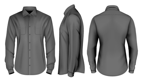 Mens long sleeved formal button down shirt front, side and back views. Vector illustration.