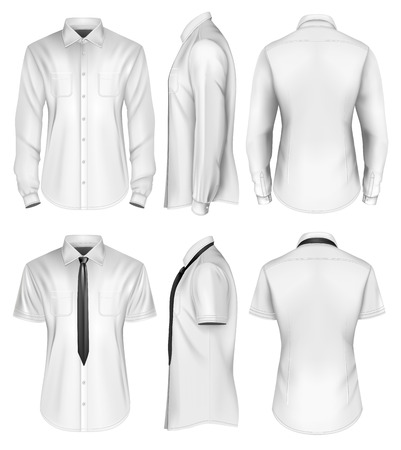 Mens short and long sleeved formal button down shirts front, side and back views. Vector illustration.