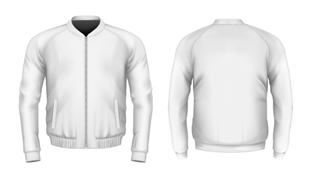 Bomber jacket in white. Front and back views. Vector illustration.