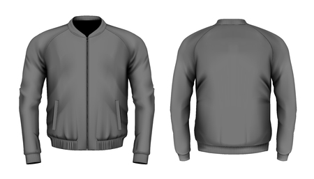 Bomber jacket in black. Front and back views. Vector illustration. Vettoriali