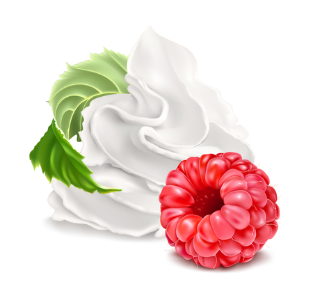 Whipped cream and raspberry. Vector illustration.