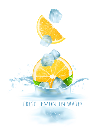 Fresh lemons and ice cubes falling in water. Vector illustration.