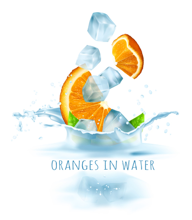 Ripe fresh oranges and ice cubes falling to water. Vector illustration.