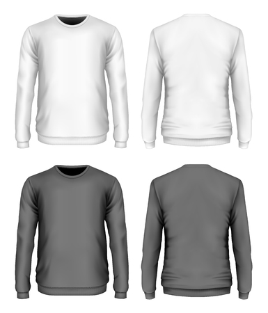 Mens sweater black and white variants. Front and back views. Vector illustration. Иллюстрация