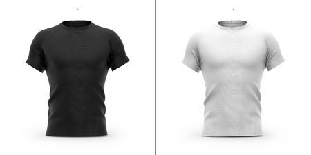 Men's t shirt with round neck and raglan sleeves. 3d rendering. Clipping paths included: whole object, collar, sleeve. Isolated on white background. Shadows and highlights mock-up templates.