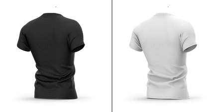 Mens t shirt with round neck and raglan sleeves. 3d rendering.  whole object, collar, sleeve. Isolated on white background. Shadows and highlights mock-up templates. Фото со стока