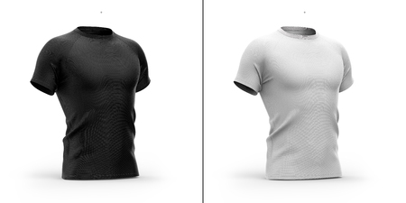 Mens t shirt with round neck and raglan sleeves. 3d rendering. Clipping paths included: whole object, collar, sleeve. Isolated on white background. Shadows and highlights mock-up templates.