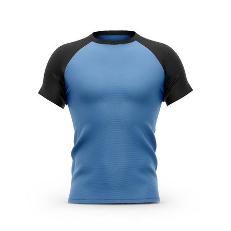Mens blue t shirt with black short raglan sleeves. 3d rendering. Clipping paths included: whole object, collar, sleeves. Isolated on white background.