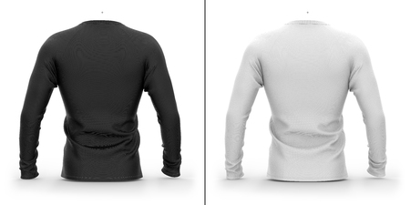 Mens t shirt with long raglan sleeves. 3d rendering. Clipping paths included: whole object, collar, sleeves. Isolated on white background. Shadows and highlights mock-up templates.