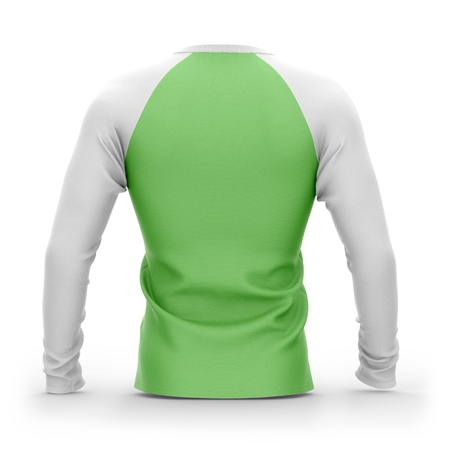 Mens green t shirt with long white raglan sleeves. 3d rendering. Isolated on white background. Stock Photo