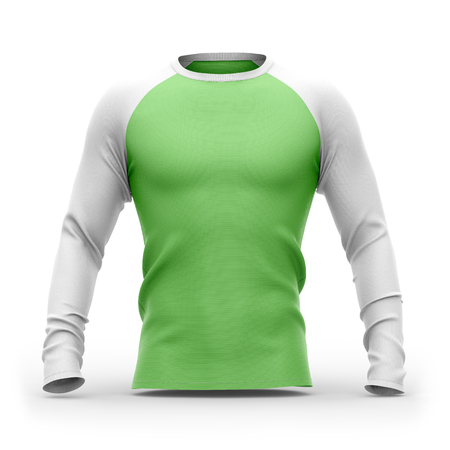 Men's green t shirt with long white raglan sleeves. 3d rendering. Isolated on white background. Clipping paths included: whole object, collar, sleeves. 스톡 콘텐츠