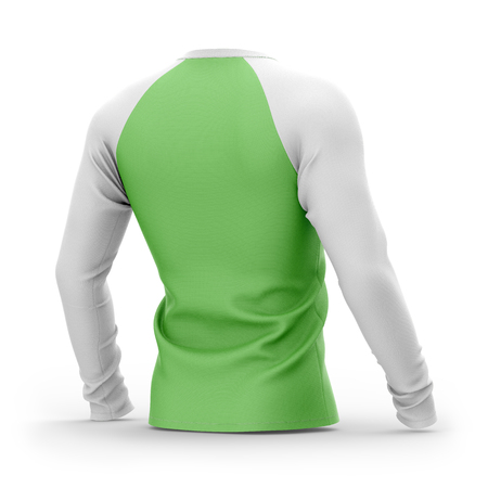 Mens green t shirt with long white raglan sleeves. 3d rendering. Isolated on white background. Clipping paths included: whole object, collar, sleeves.