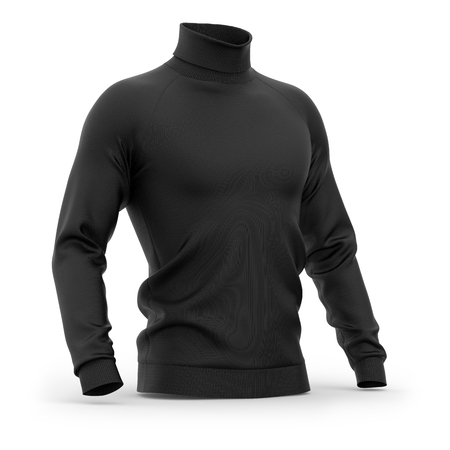 Mens sweater with long raglan sleeves. Half-front view. 3d rendering. Clipping paths included: whole object, collar, sleeves. Isolated on white background. Black (highlights template) Фото со стока