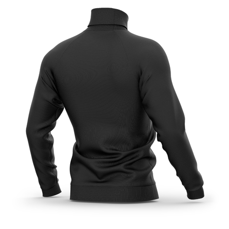 Mens sweater with long raglan sleeves. Half-back view. 3d rendering. Clipping paths included: whole object, collar, sleeves. Isolated on white background. Black (highlights template)