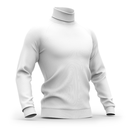 Mens sweater with long raglan sleeves. Half-front view. 3d rendering. Clipping paths included: whole object, collar, sleeves. Isolated on white background. White (shadows template)