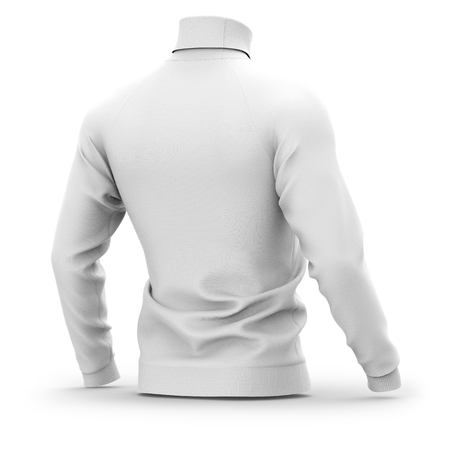 Mens sweater with long raglan sleeves. Half back view. 3d rendering. Фото со стока