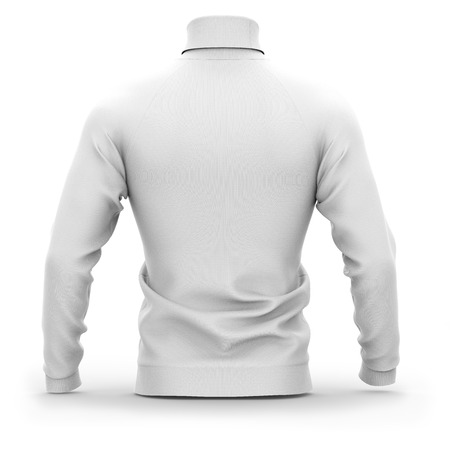 Mens sweater with long raglan sleeves. Back view. 3d rendering. Clipping paths included: whole object, collar, sleeves. Isolated on white background. White (shadows template)