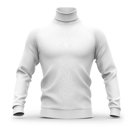 Mens sweater with long raglan sleeves. Front view. 3d rendering. Clipping paths included: whole object, collar, sleeves. Isolated on white background. White (shadows template)