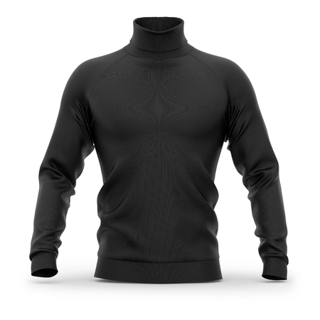 Mens sweater with long raglan sleeves. Front view. 3d rendering. Clipping paths included: whole object, collar, sleeves. Isolated on white background. Black (highlights template)