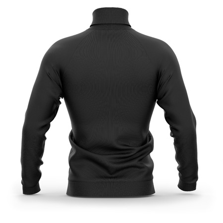 Mens sweater with long raglan sleeves. Back view. 3d rendering. Clipping paths included: whole object, collar, sleeves. Isolated on white background. Black (highlights template)