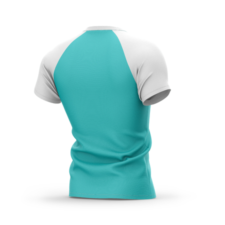 Mens blue t shirt with white short raglan sleeve. 3d rendering.