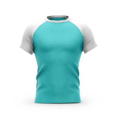 Mens blue t shirt with white short raglan sleeve. 3d rendering. Clipping paths included: whole object, collar, sleeves. Isolated on white background.