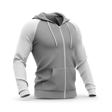 Mens zip-up hoodie. Sweatshirt with pockets. Half-front view. 3d rendering. Clipping paths included: whole object, hood, sleeve, zipper, rope tie. Isolated on white background. Фото со стока