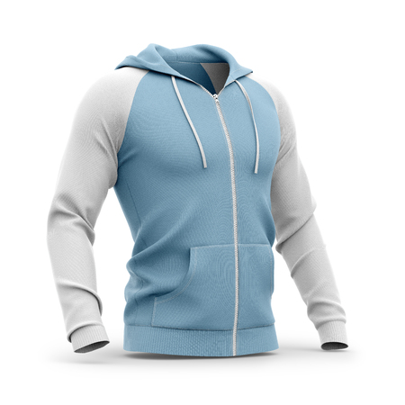 Mens hooded zip-up hoodie. Sweatshirt with pockets. Half-front view. 3d rendering. Clipping paths included: whole object, hood, sleeve, zipper, rope tie. Isolated on white background.