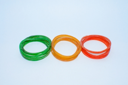 rubber band: plastic band red yello green Stock Photo