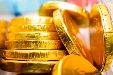 coins shot in golden color: gold coin