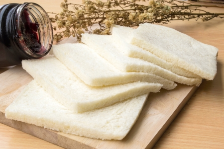 Bread no edges and jam Stock Photo