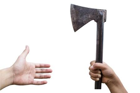 axe in hand Stock Photo