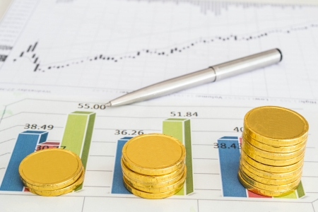 chart and coins Stock Photo - 19114843