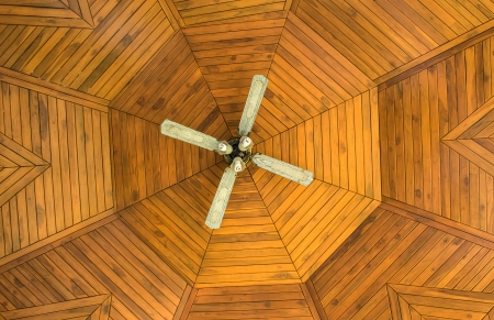 Ceiling wood with fan photo