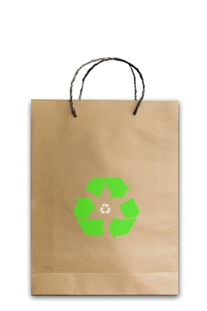 Paper bag and recycle symbol