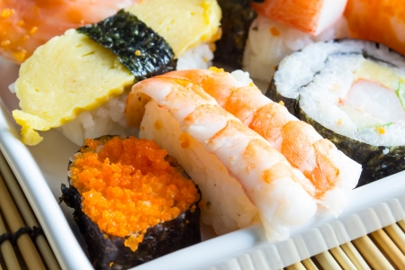 Sushi on the white plate Stock Photo