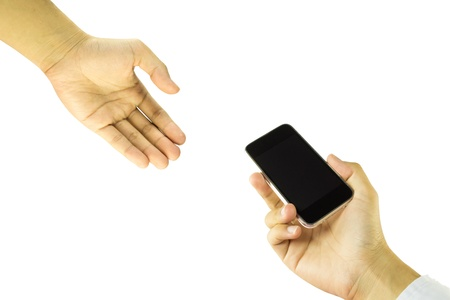 smartphone in hand given to people