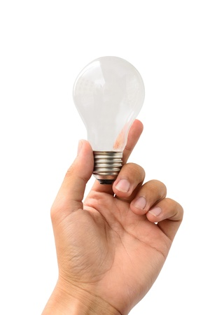 hold lamp on isolate white background