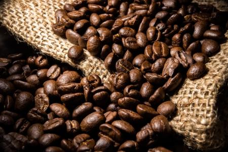 close-up coffee bean on bag