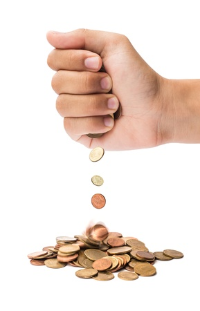 hand scatter coin on isolate white background Stock Photo