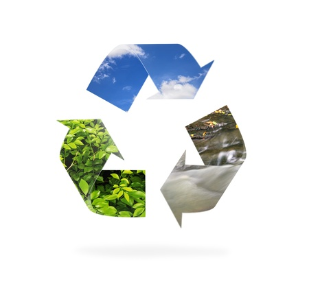 natural recycle sign on isolate background Stock Photo