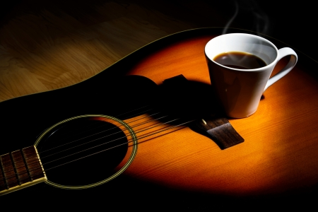 coffee on guitar