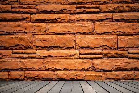 wooden ground and brick wall photo
