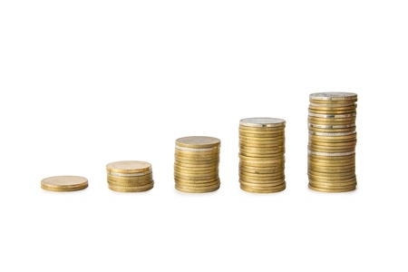 coins cumulative on isolate white background Stock Photo