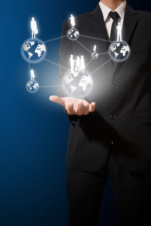 business man hold world of business and connection concept Stock Photo