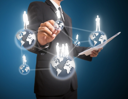 businessman drawing connection of business