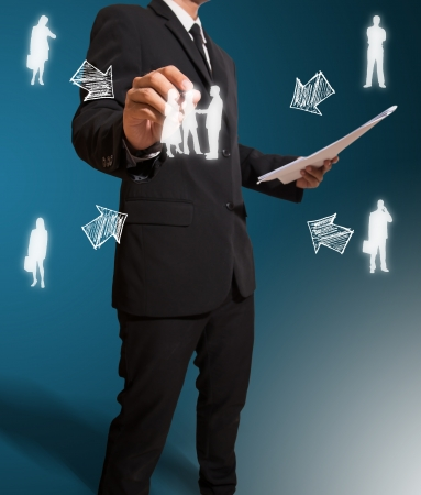 businessman drawing business concept photo